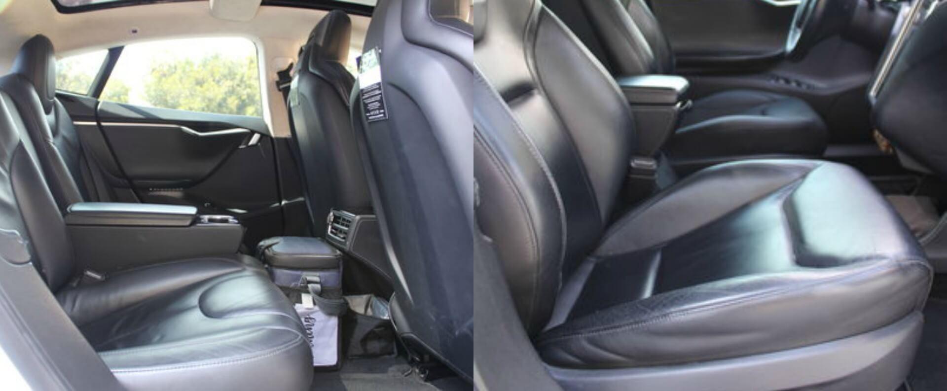 Состояние сидений при пробеге 643000 километров Tesla Model S 90D