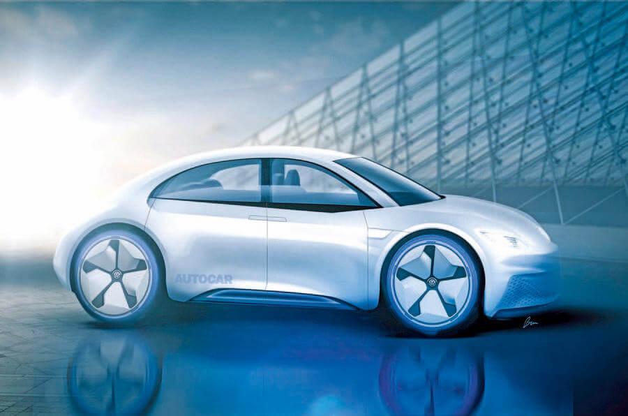 Возможный дизайн будущего электромобиля Beetle EV