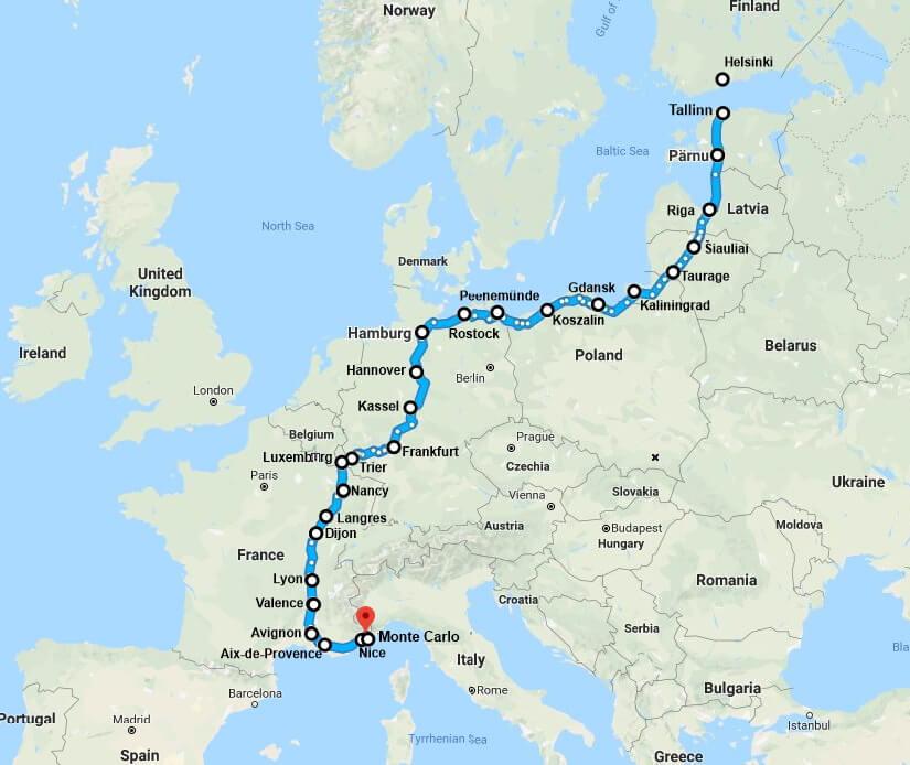 Карта электромобильного марафона «Талсинки» — Монте-Карло (возможны изменения)