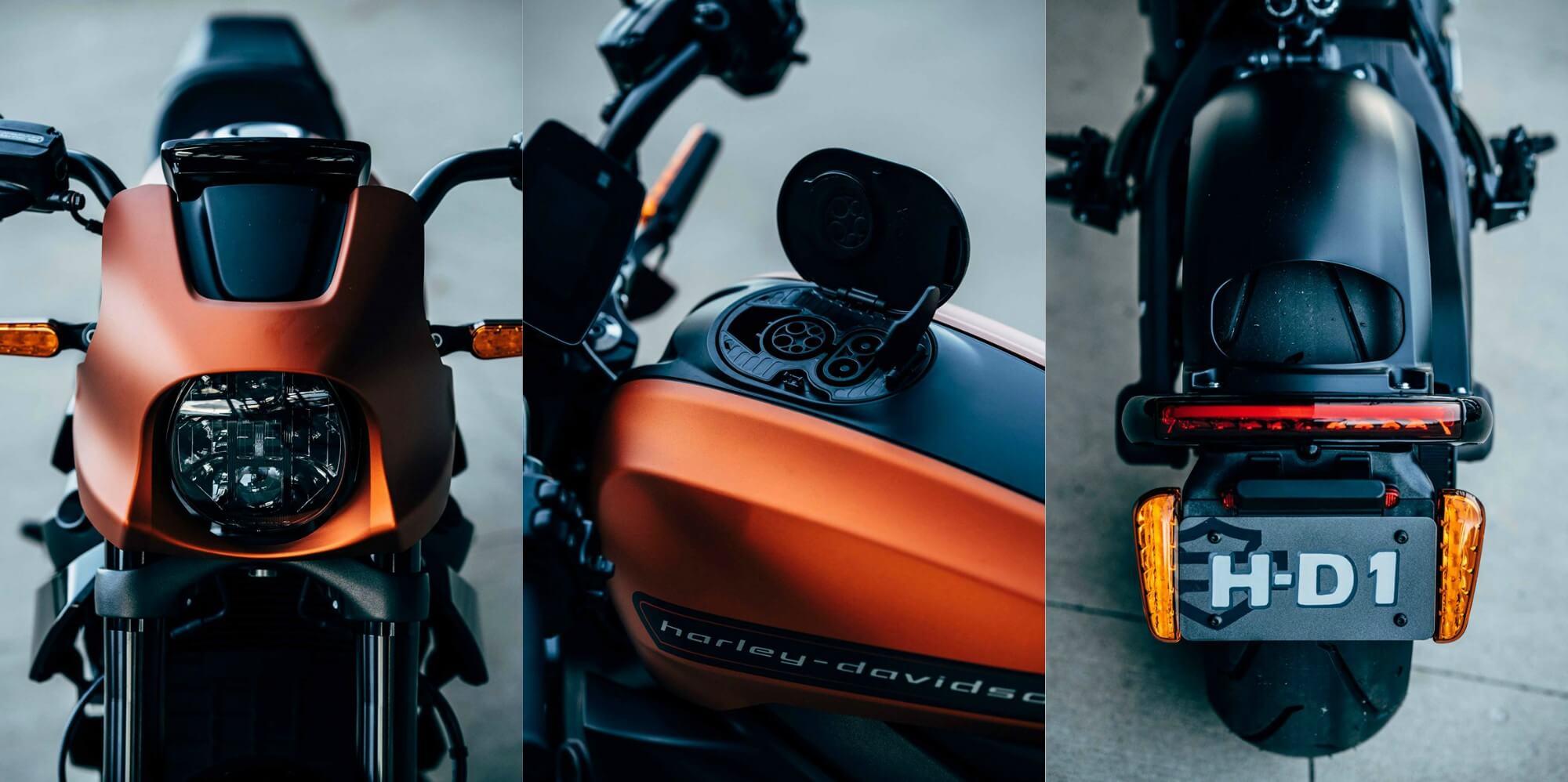 Вид электрического мотоцикла Harley-Davidson LiveWire спереди и сзади