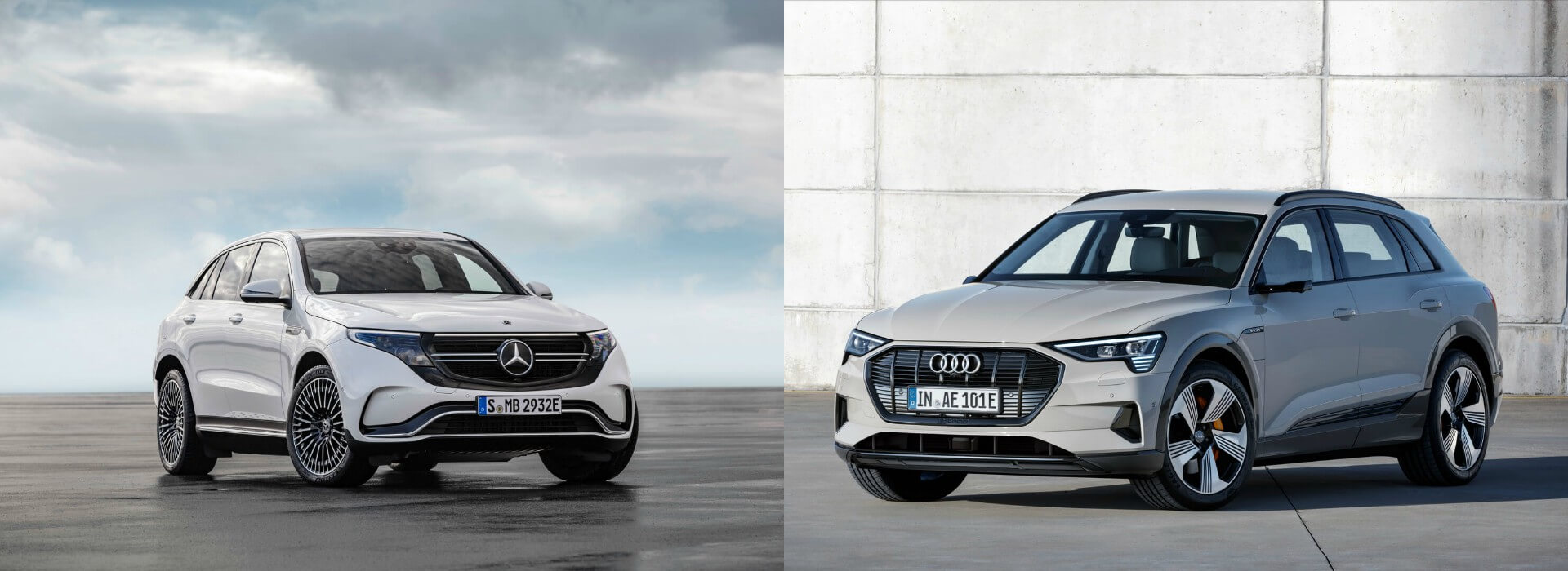 Электрический кроссовер Mercedes-Benz EQC и Audi e-tron quattro