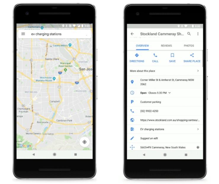 ВКартах Google включена функция поиска зарядных станций для электромобилей