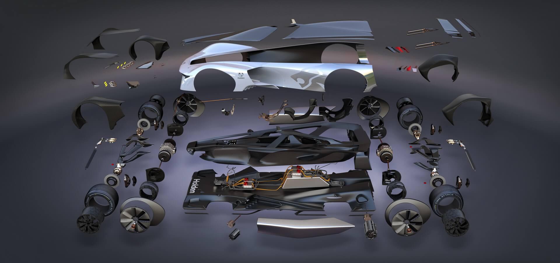 Новаторский концептуальный гоночный электрический автомобиль GM Holden Time Attack