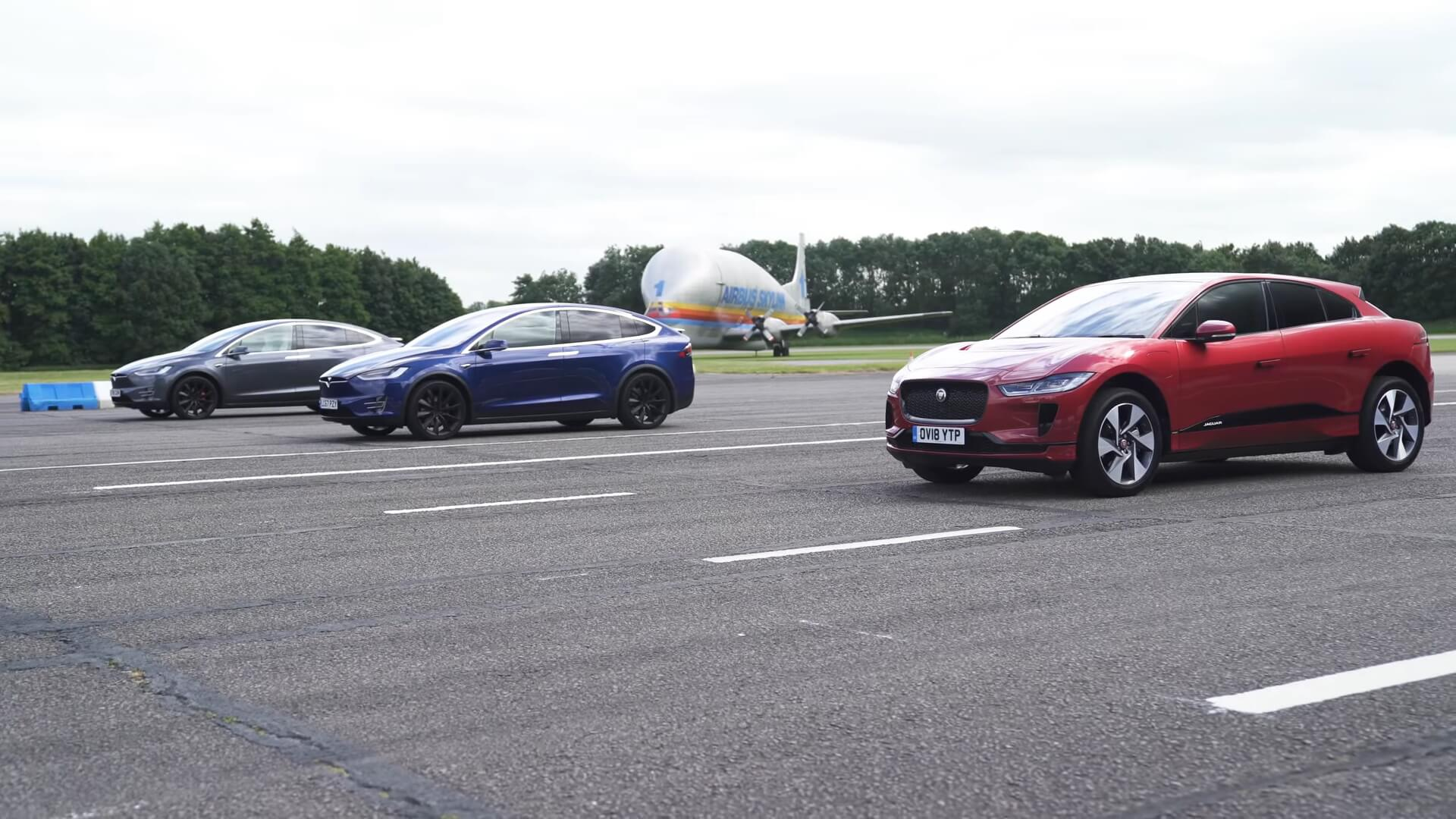 Jaguar I-Pace vs Tesla Model X 100D vs Tesla Model X P100D на одном треке