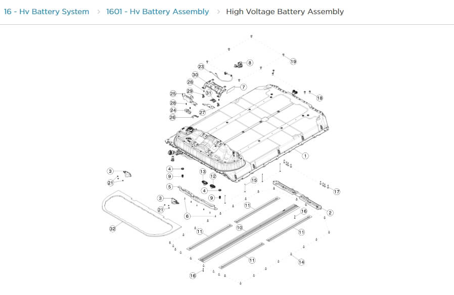 Высоковольтная батарея Model S в каталоге запчастей Tesla