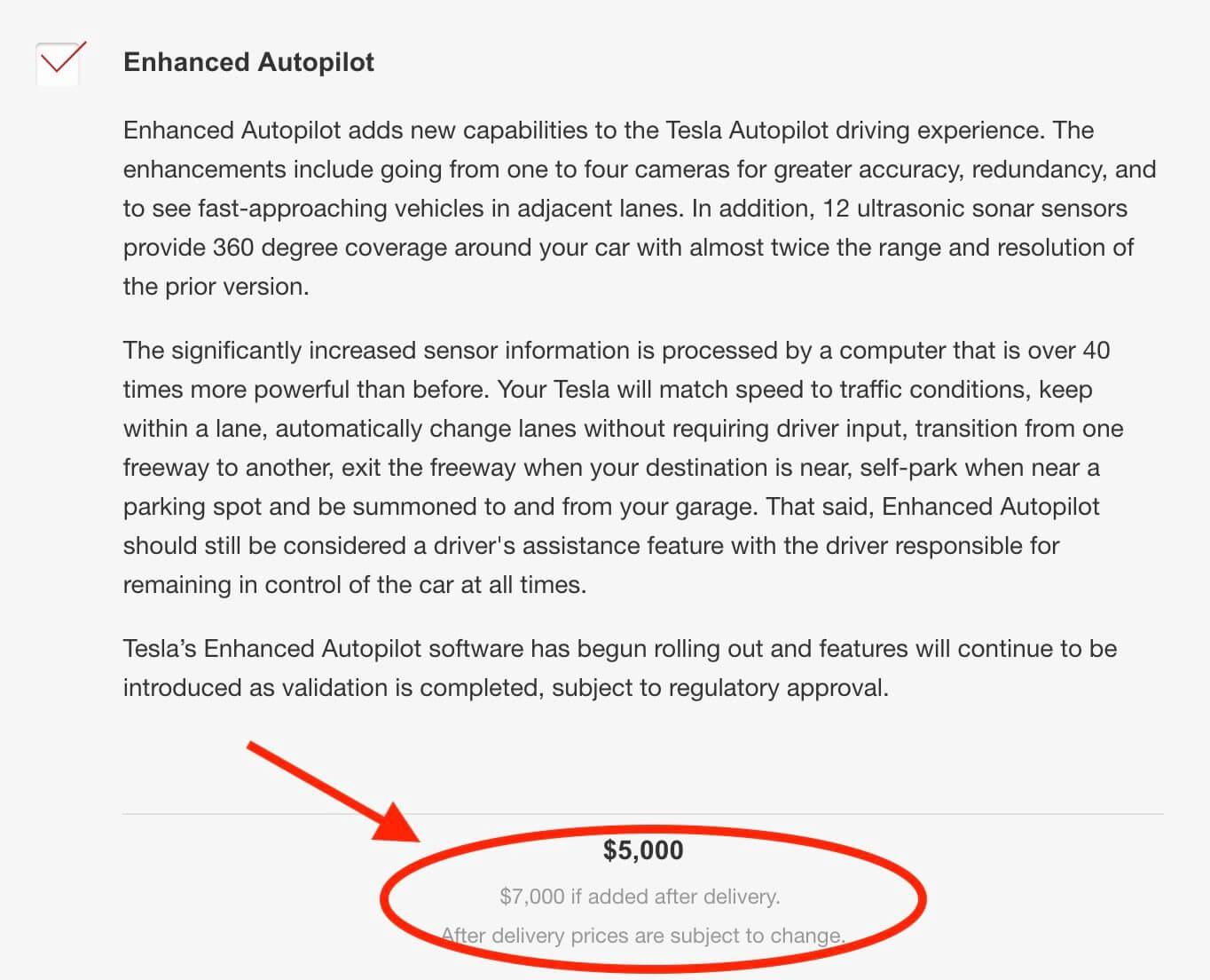 Стоимость автопилота в конфигураторе Tesla после покупки