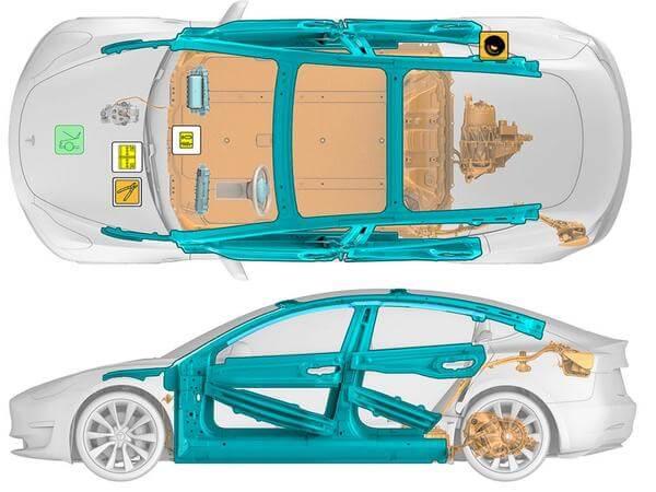 Стальные панели в дверях и крыше Tesla Model 3