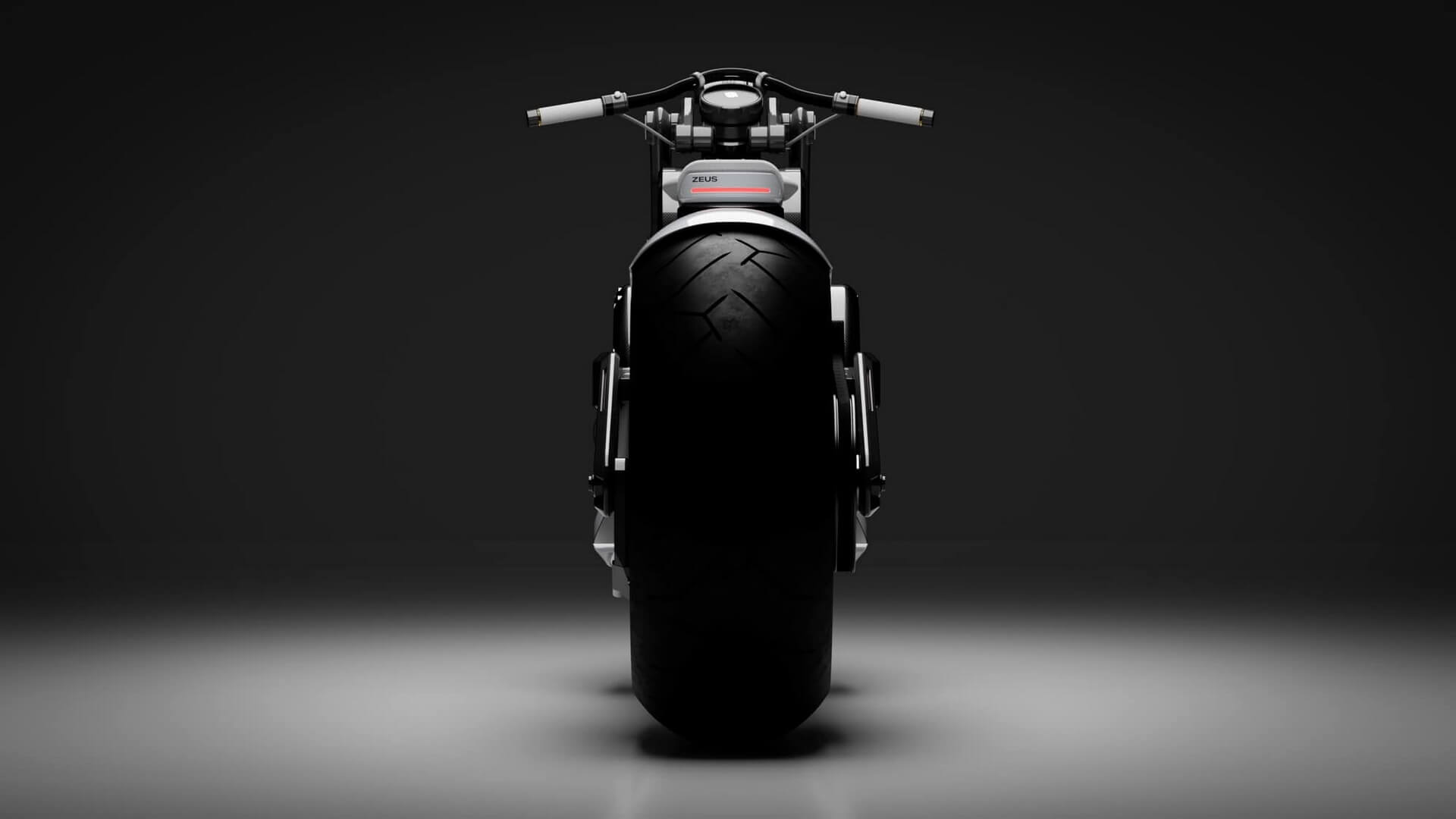 Электрический мотоцикл Zeus Cafe - вид сзади