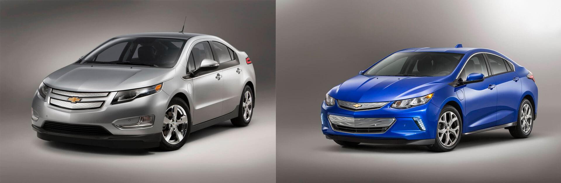 Chevrolet Volt PHEV первого (слева) и второго поколения