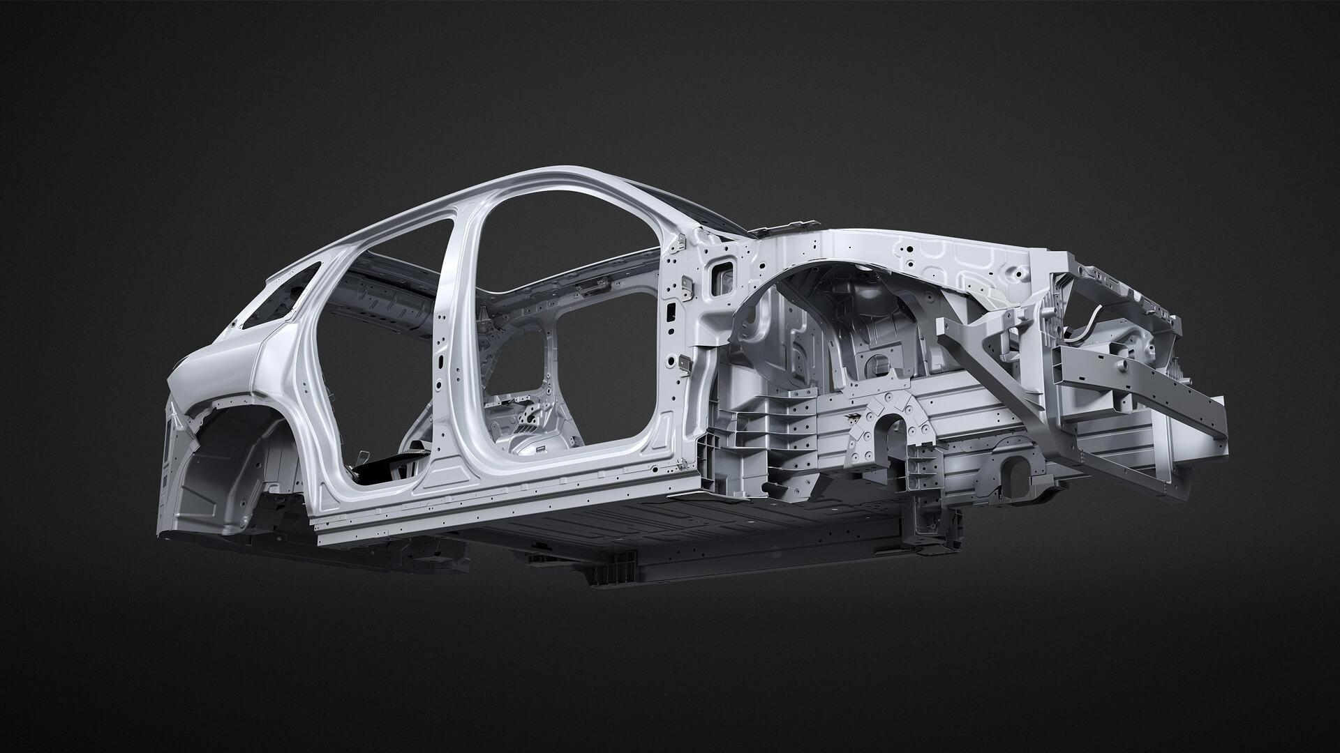 Кузов электрокроссовера ES6 из высокопрочного алюминия и углепластика