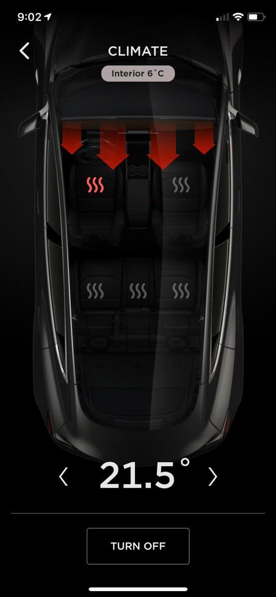 Приложение Tesla позволяет дистанционно активировать подогрев сидений ируля