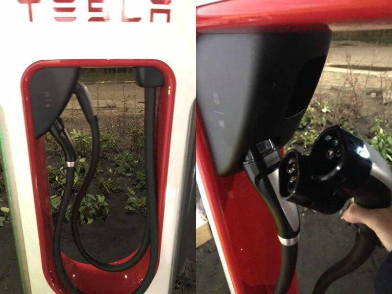 Tesla Supercharger с двойными зарядными кабелями для поддержки существующего разъема и стандарта CCS