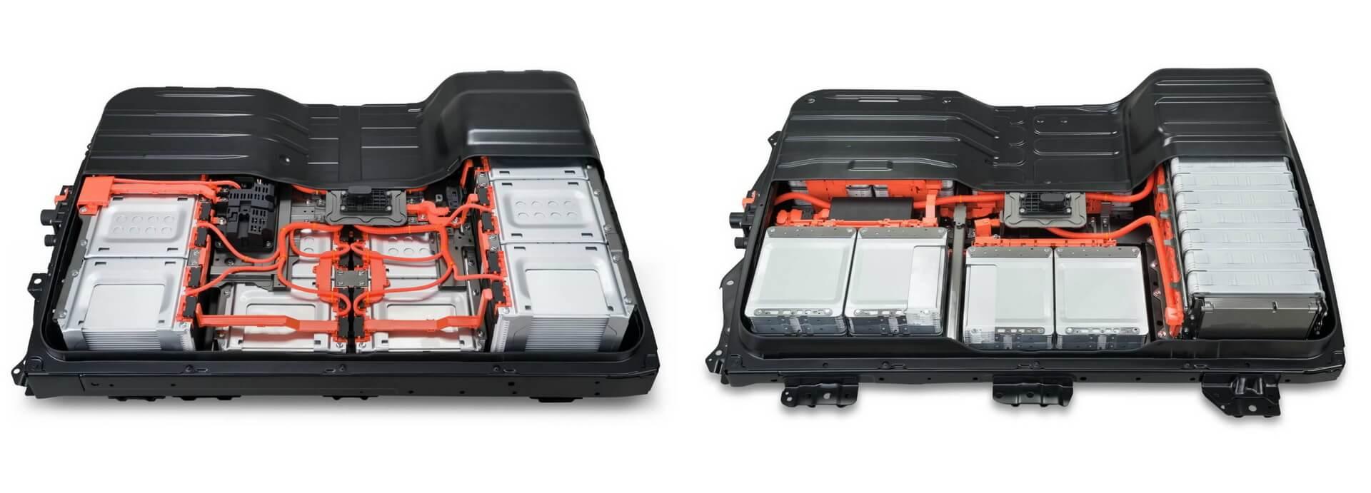 Аккумуляторная батарея Nissan Leaf e+ на 62 кВт⋅ч (слева) и Nissan Leaf 40 кВт⋅ч (справа)