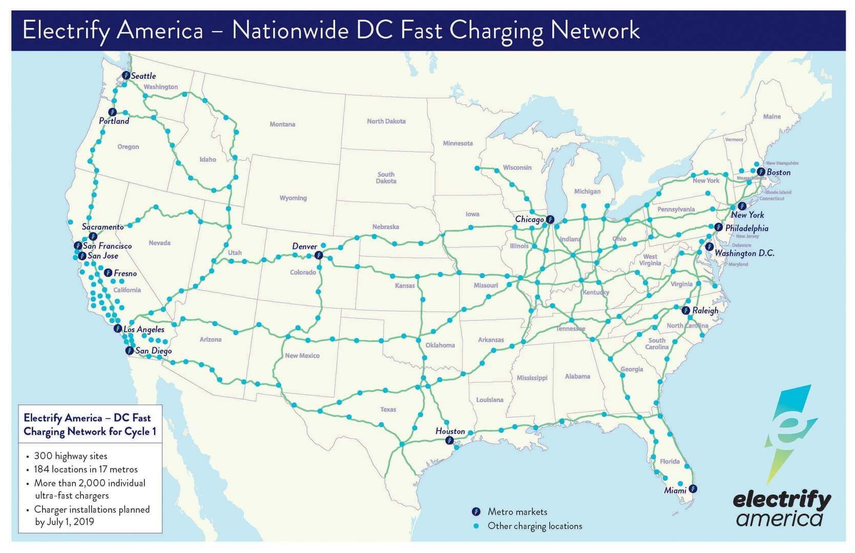 Сеть быстрых зарядных станций Electrify America в США