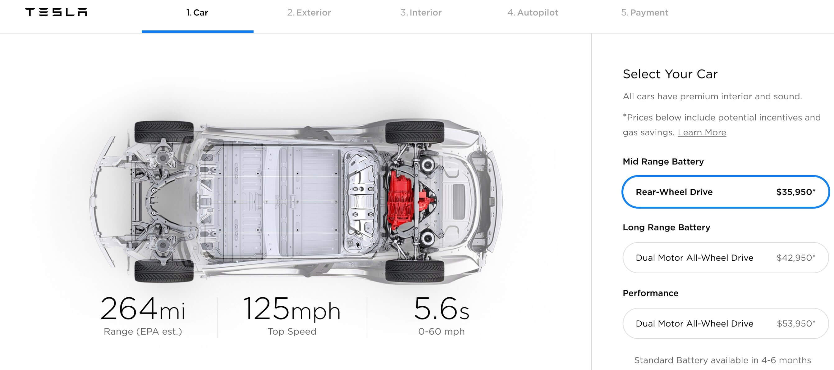 Конфигуратор Tesla Model 3 Mid Range