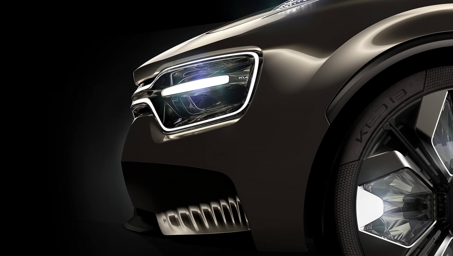 Дизайн передней оптики ибампера концепта электромобиля KIA