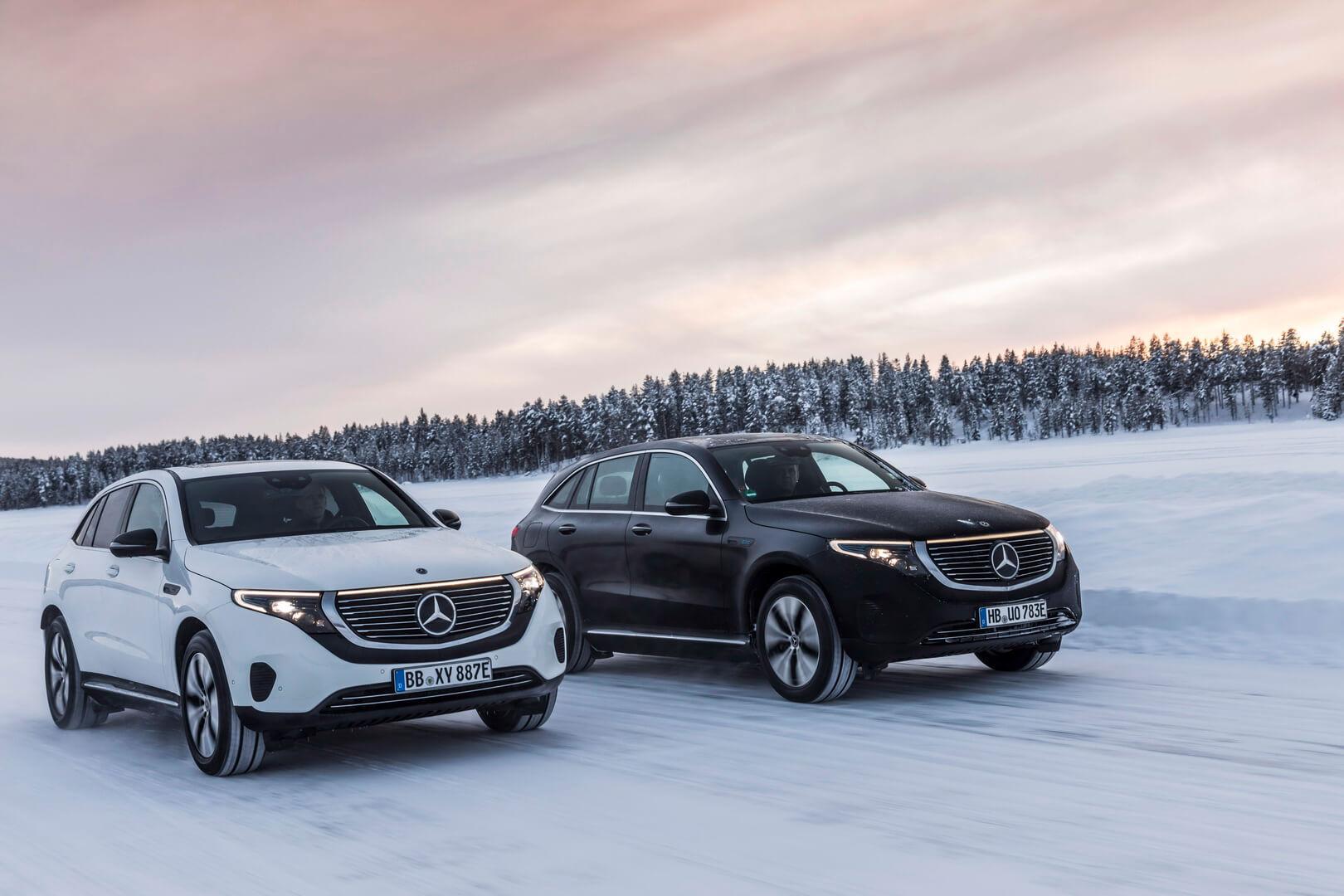 Mercedes-Benz тестирует электромобиль вснежных ландшафтах Швеции