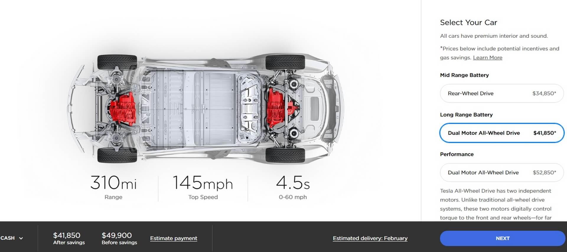 Model 3 Long Range Dual Motor: $49 900