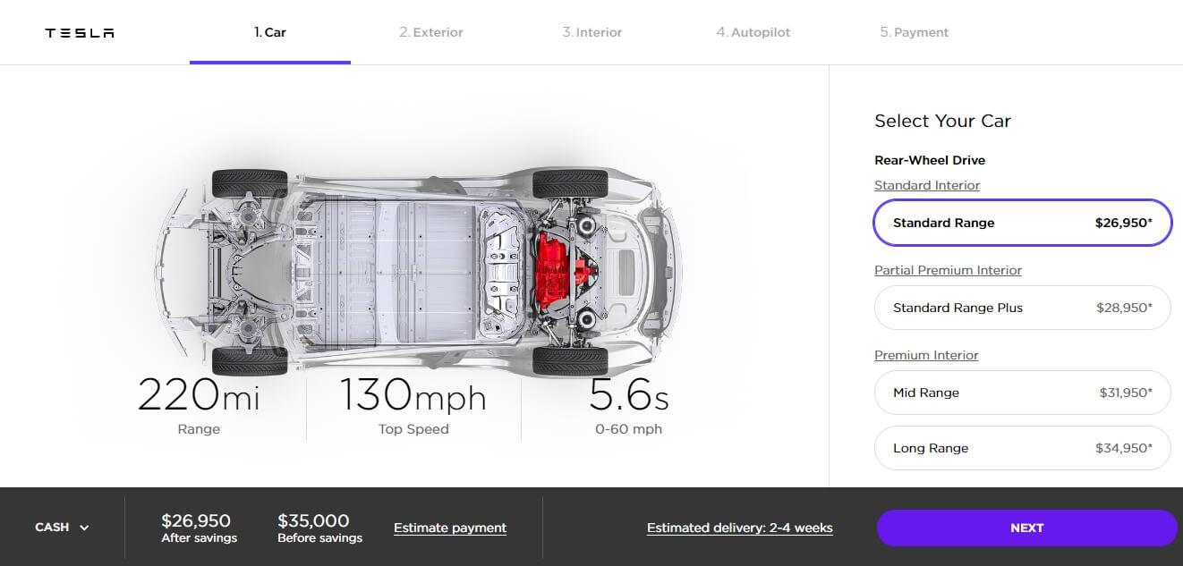 Tesla Model 3 «Standard Range» за $35000