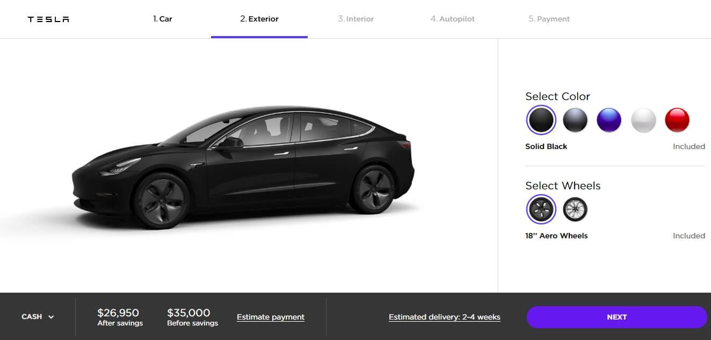 Конфигуратор стандартной версии Tesla Model 3