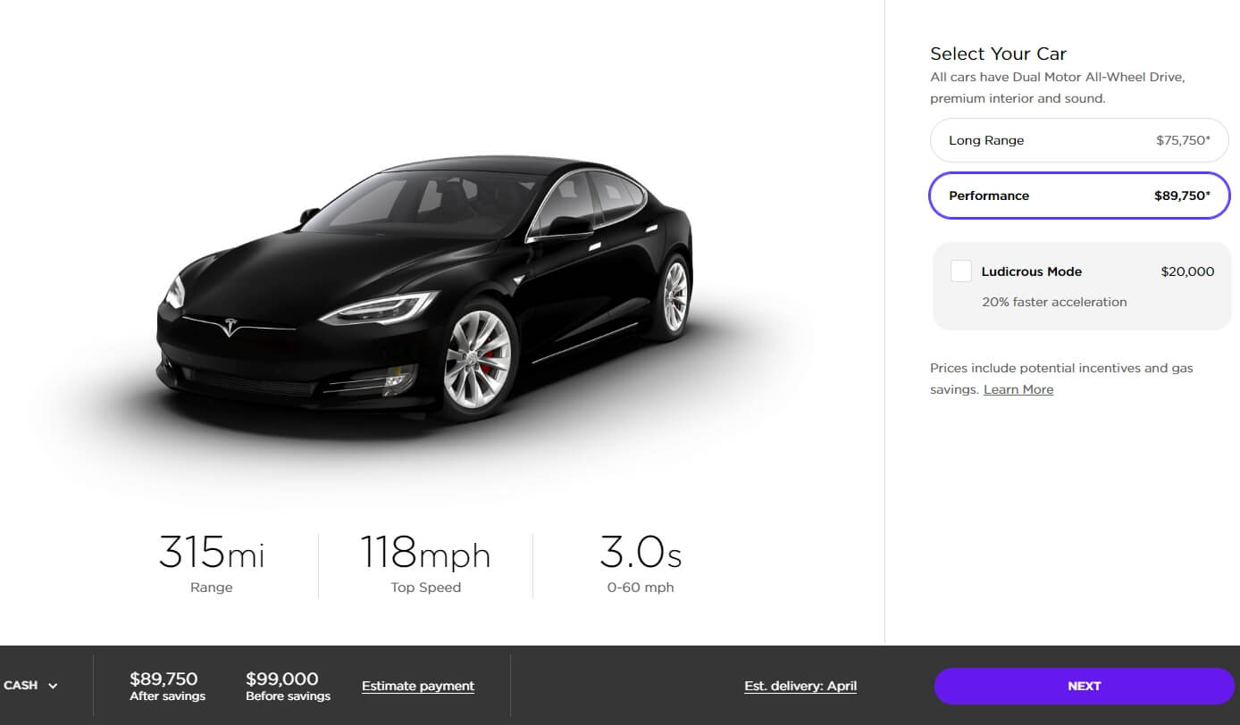 Tesla Model S «Performance» в конфигураторе