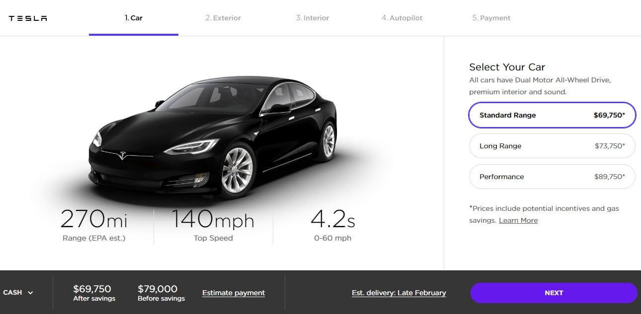 Model S «Standard Range» в конфигураторе Tesla