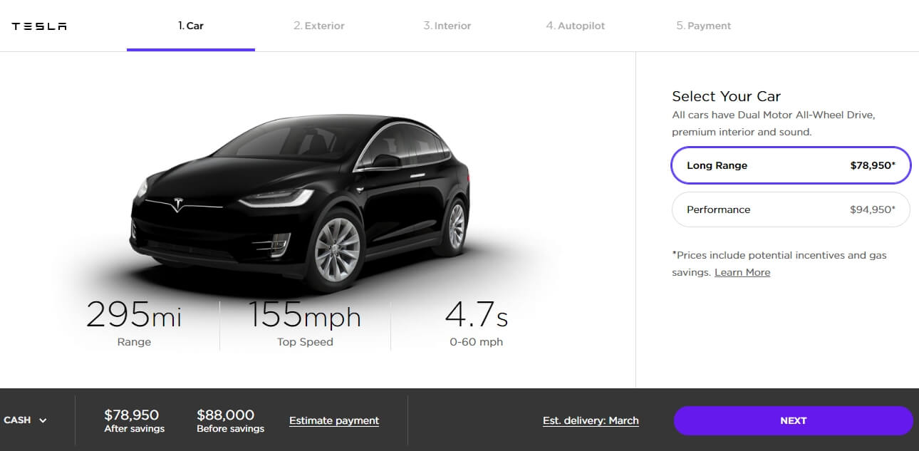 Model X «Long Range» в конфигураторе Tesla