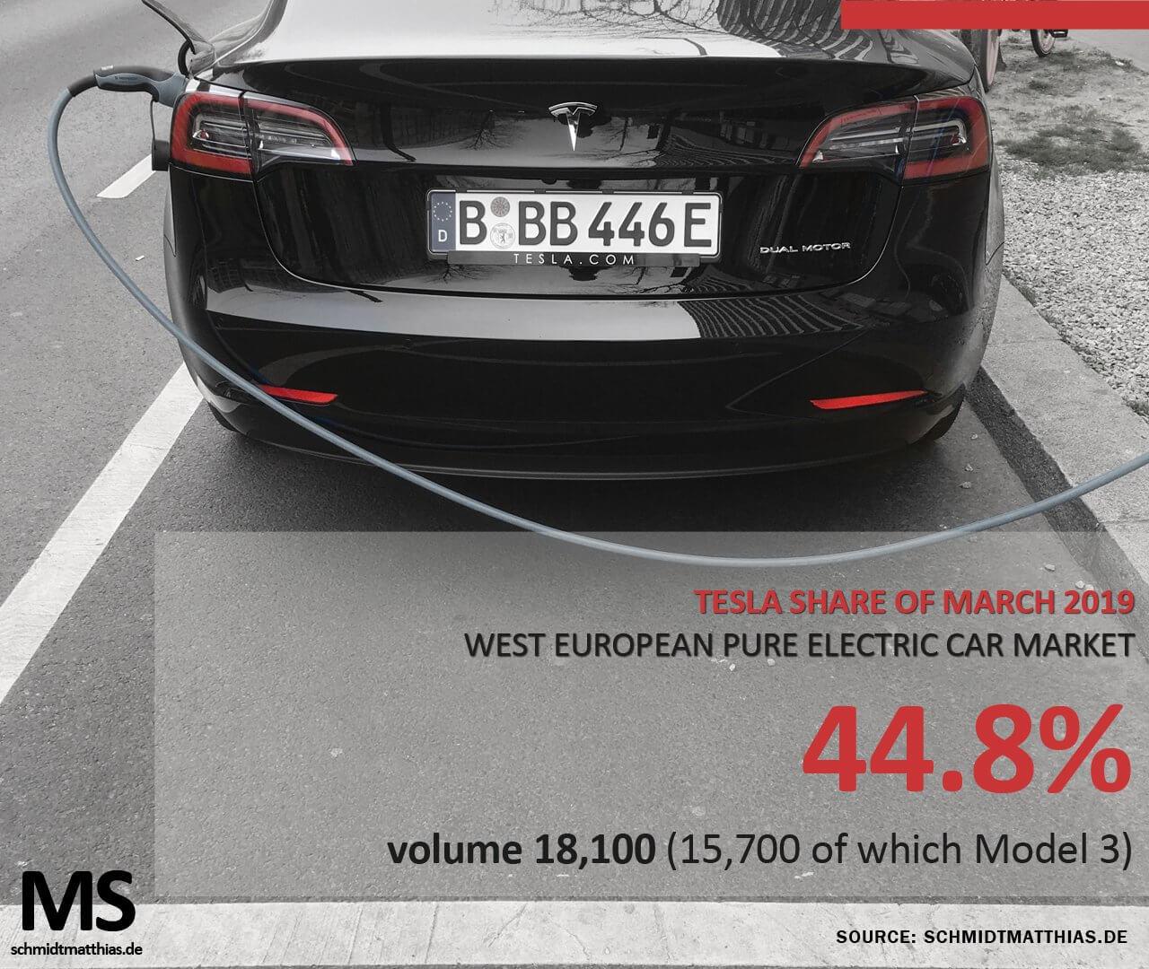 Tesla занимает 45% европейского рынка электрокаров в марте