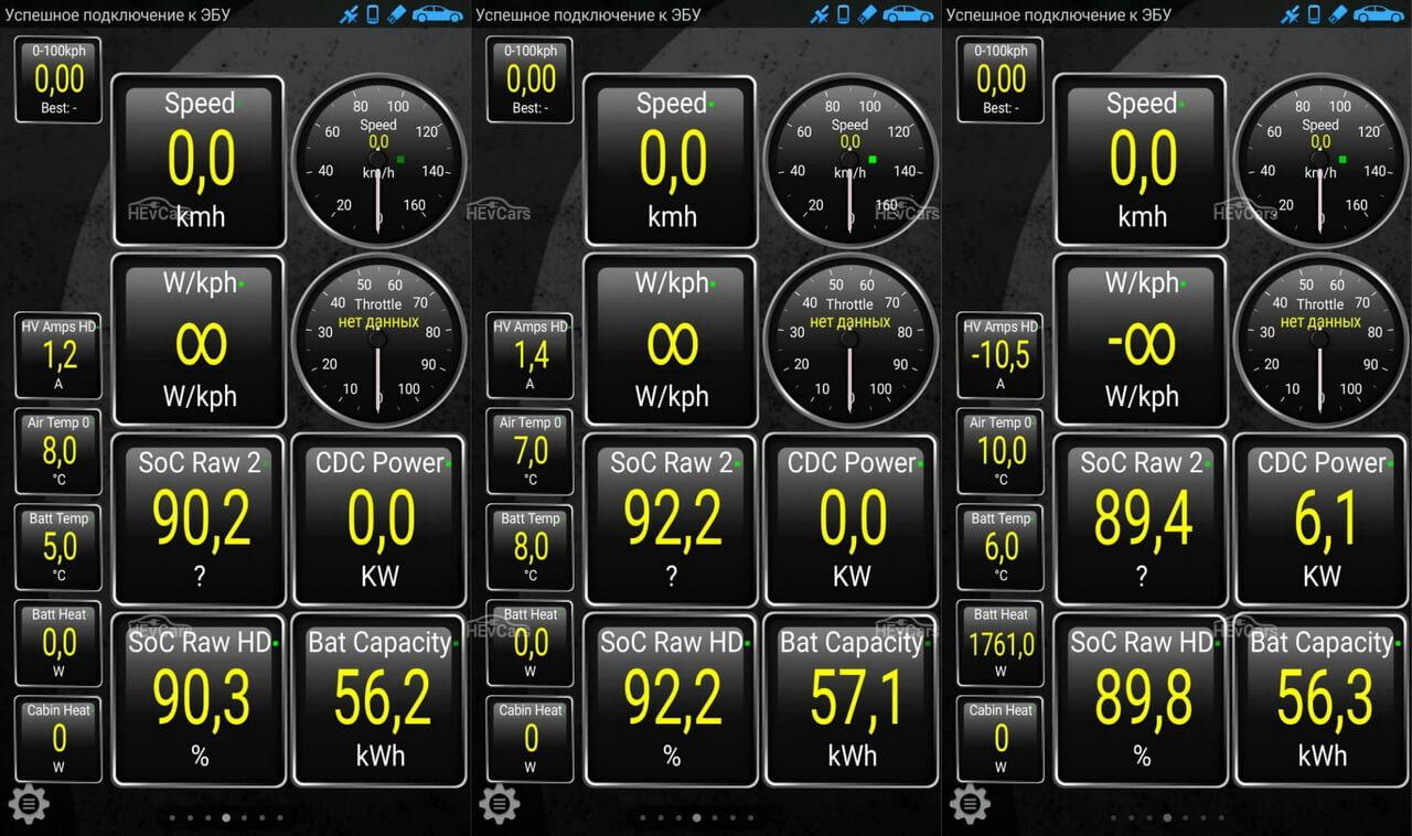 Текущий заряд и остаточная емкость батарей 3-х Chevrolet Bolt EV