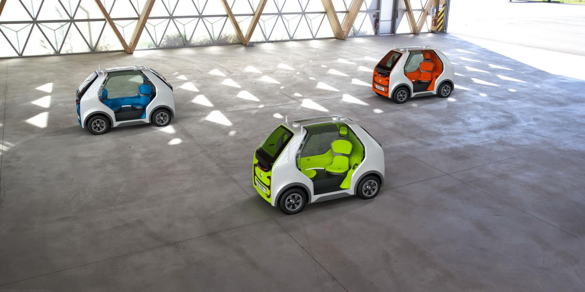 Renault EZ-POD может объединятся всоставы для перевозки небольших групп