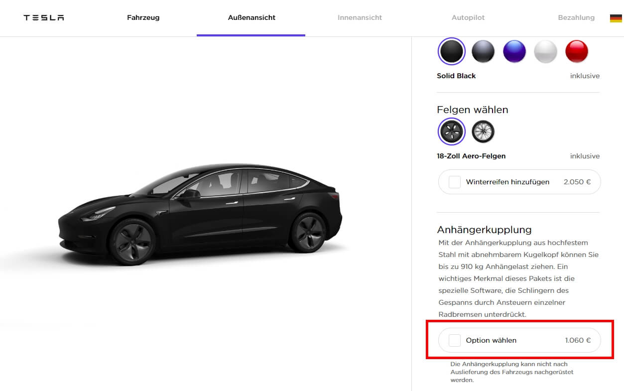 Фаркоп для Model3 в онлайн-конфигураторе Tesla в Германии