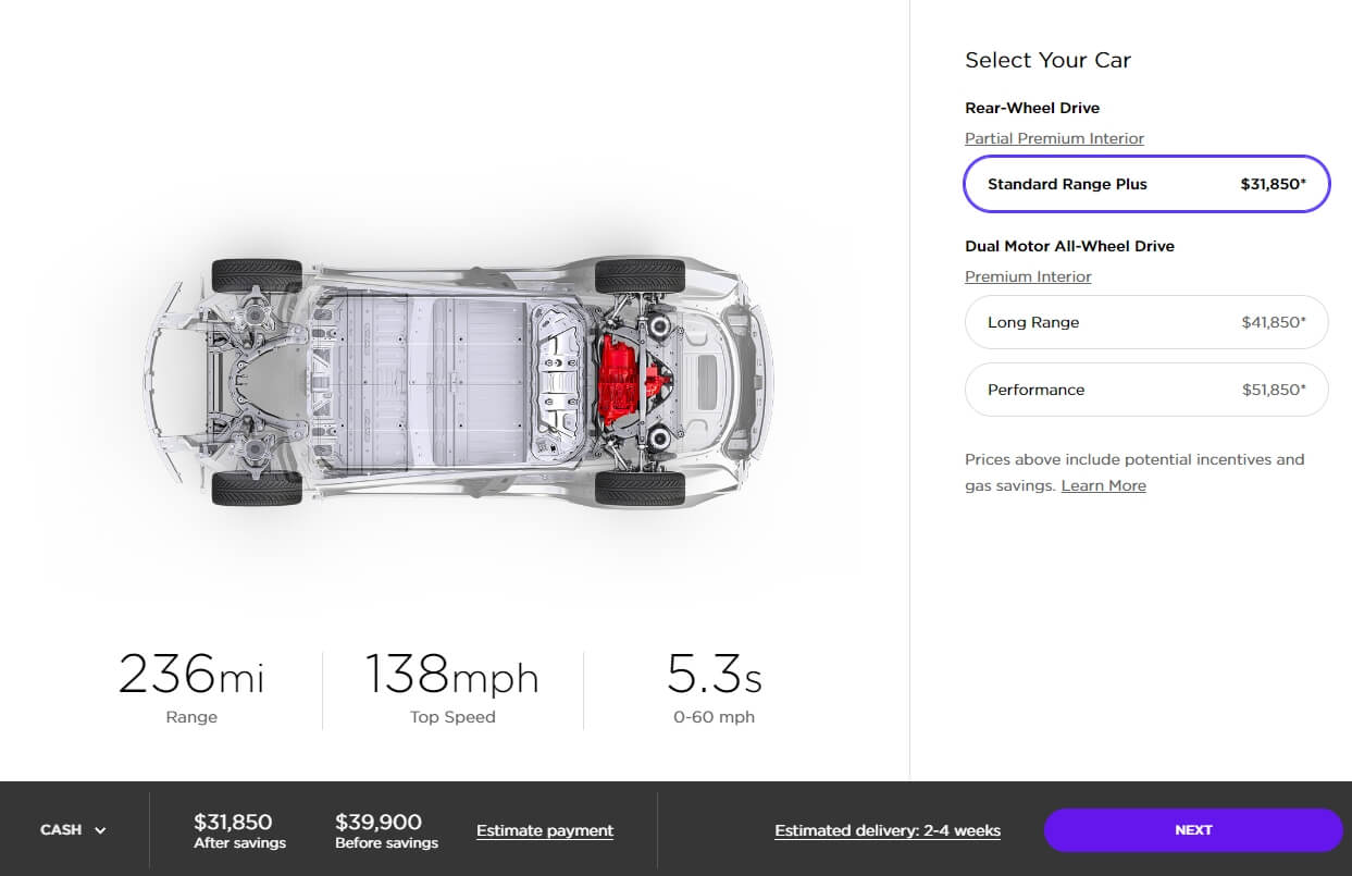 Tesla Model 3 Standard Plus в конфигураторе
