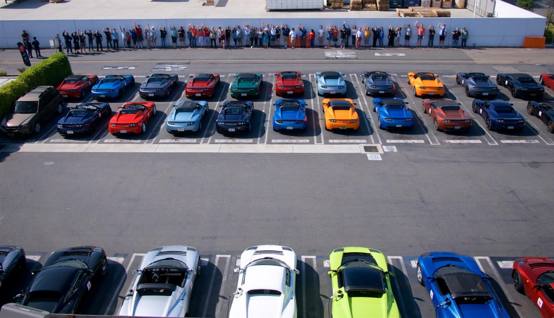 Самая большая концентрация Tesla Roadster состоялась в Лос-Анджелесе