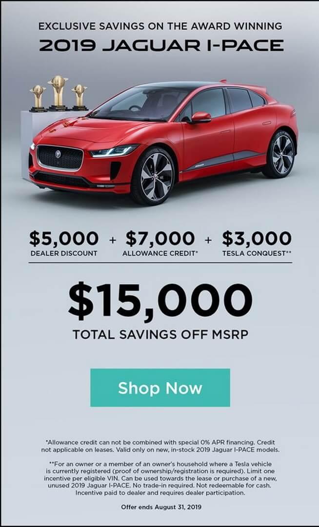 Владельцам Tesla вСША Jaguar предлагает скидку в$3000на покупку I-Pace