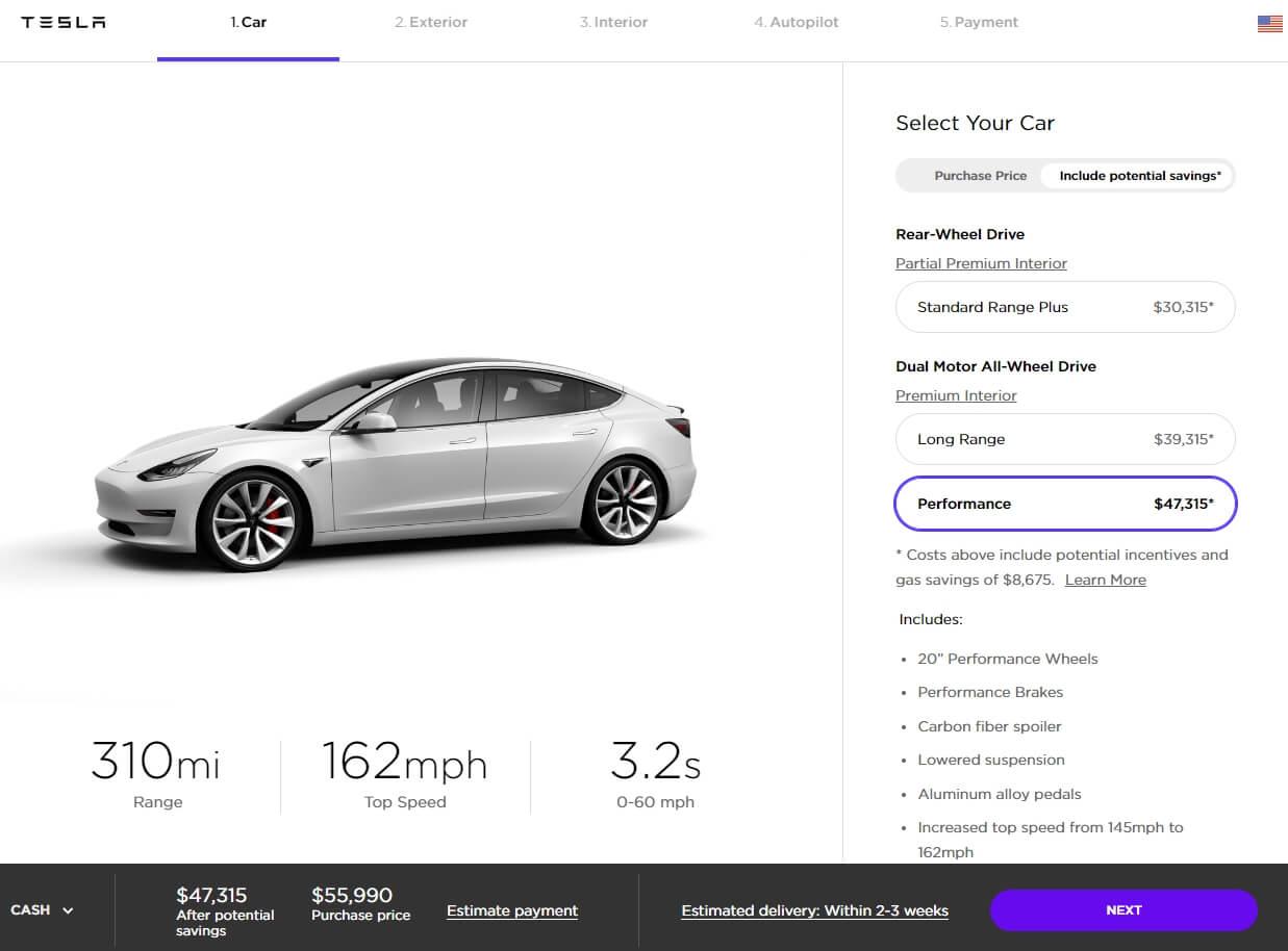 Стоимость Teslа Model3 Performance