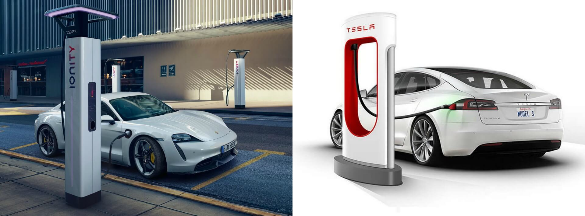 Porsche Taycan заряжается на европейской зарядной станции Ionity и Tesla ModelS на станции Supercharger