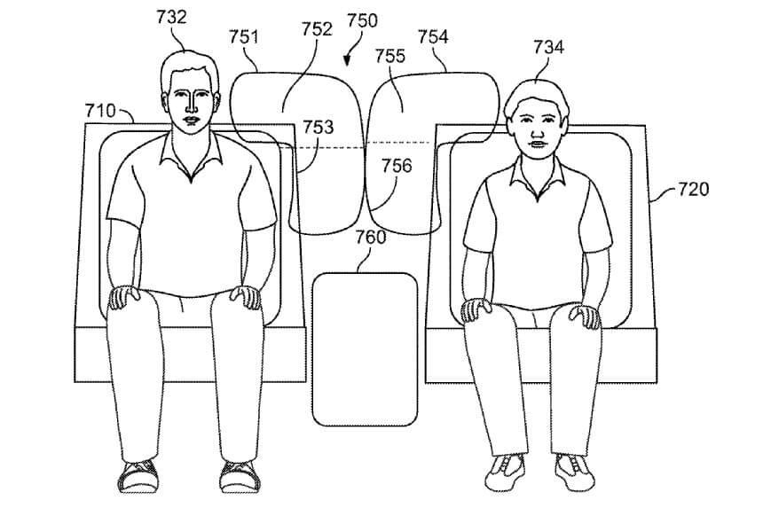 Иллюстрация инновационного пакета подушек безопасности Rivian