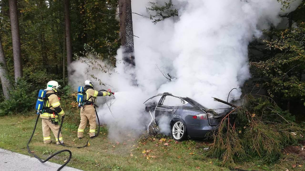 Tesla Model Sзагорелась после того, как врезалась в дерево