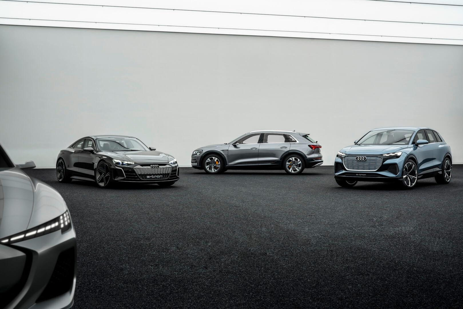 Будущие электромобили Audi: неизвестный концепт → Audi e-tron GT → Audi e-tron quattro → Audi Q4 e-tron