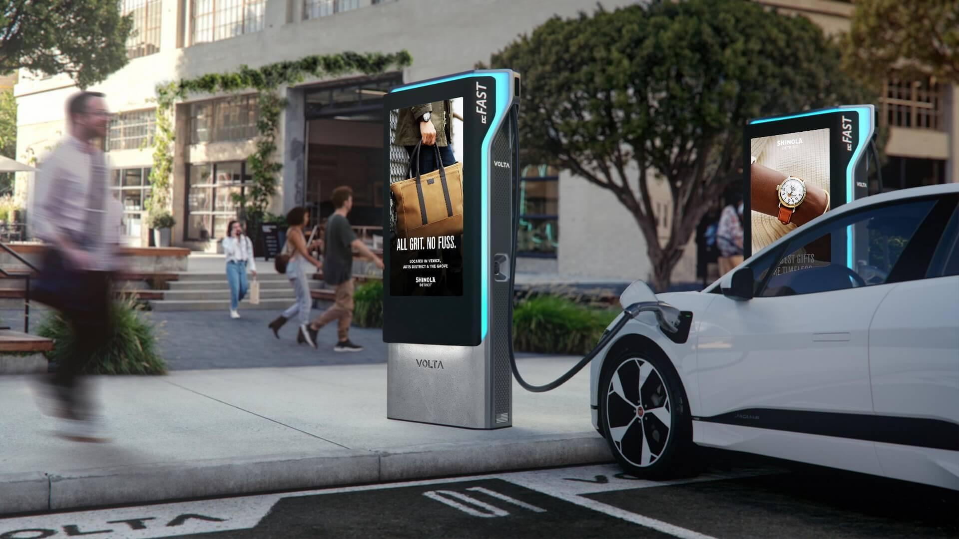 Быстрые зарядные устройства будут размещены рядом со станциями AC Volta для быстрого посещения таких мест, как продуктовые магазины и кафе